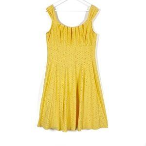 Cleo Yellow Eyelet Summer Dress Size 14